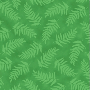 Picture of Nature's Glory Fern Tonal Green Ferns on Green Cotton Fabric