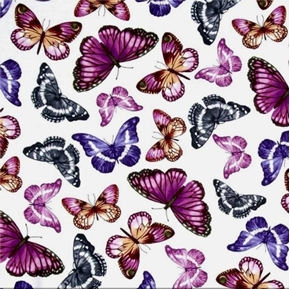 Picture of Papillon Beautiful Purple Pink and Gray Butterfly Cotton Fabric