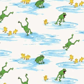 Picture of Puddle Jumpers Leaping Frogs and Chicks in Puddles Cotton Fabric