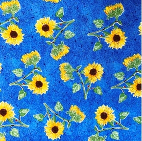 Picture of Summer Sunshine Sunflowers on Blue Cotton Fabric