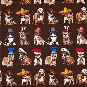 Who's Your Doggy Dogs with Hats and Mustaches on Brown Cotton Fabric