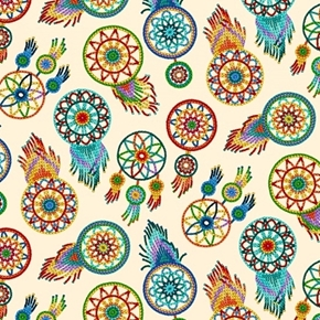 Tucson Southwest Aztec Beaded Dreamcatchers Cream Cotton Fabric