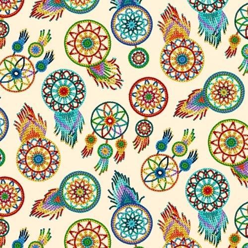 Tucson Southwest Aztec Beaded Dreamcatchers Cream Cotton Fabric