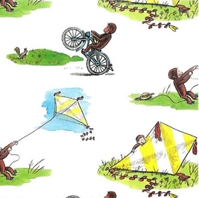 Curious George Flying Kites Riding Bikes White Cotton Fabric