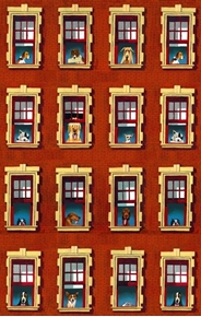 Dogs Rule Dogs in Windows Red Brick Building Cotton Fabric