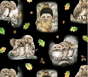 Picture of Hoo's Tree Great Grey Owls Owl Couples in Tree Cotton Fabric