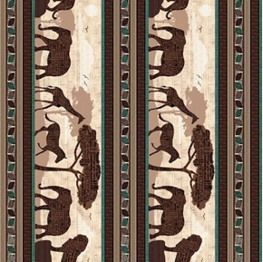 Wisdom of the Plains African Animal Stripe 24x22 Cotton Fabric