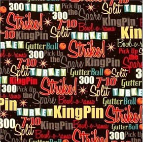 Picture of It's A Strike Bowling Terms Strike King Pin Split Spare Cotton Fabric