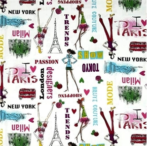 Picture of Jet Set Fashion Design Women Around the World Cotton Fabric