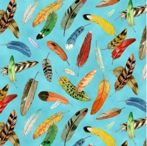 Birdwatching Colorful Feathers on Blue Cotton Fabric