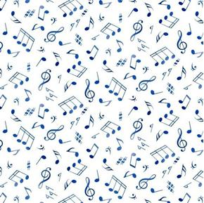 Picture of Jazz Musical Blue Notes Music Scattered on White Cotton Fabric