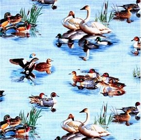 Waterfowl Coastal Geese and Ducks in the Water Cotton Fabric