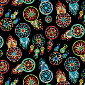 Tucson Southwest Aztec Beaded Dreamcatchers Black Cotton Fabric