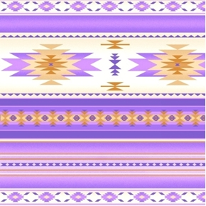 Tucson Southwest Aztec Native American Lavender Stripe Cotton Fabric