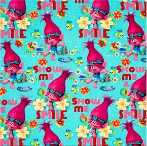 Trolls Poppy True Colors Are Beautiful Show Me A Smile Cotton Fabric