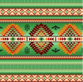 Tucson Southwest Aztec Dream Catcher Eagle Green Cotton Fabric