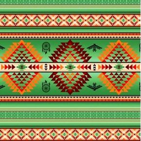 Tucson Southwest Aztec Dream Catcher Eagle Green Cotton Fabric