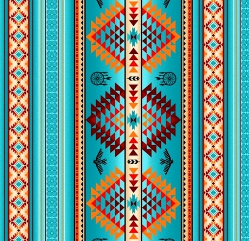 Tucson Southwest Aztec Dream Catcher Eagle Turquoise Cotton Fabric