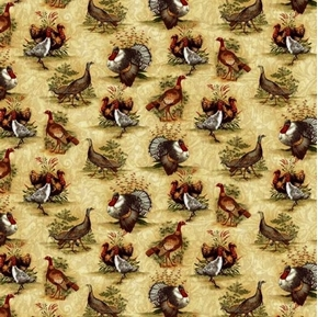 Picture of Turkey Run Gobblers and Hens Turkey Families Cotton Fabric