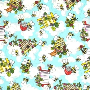 Picture of Krazy Kritters Bees Bumble Bee Hives Beekeeping Cotton Fabric