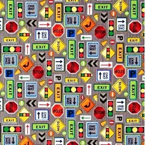 Truck Stop Traffic Signs Stop Slow Exit One Way Grey Cotton Fabric