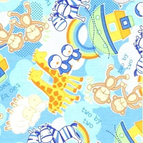 Rock the Boat Allover Noah's Ark Animals Two By Two Cotton Fabric