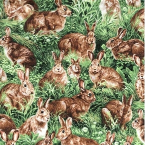 Picture of American Wildlife Wild Rabbits Bunnies in the Grass Cotton Fabric
