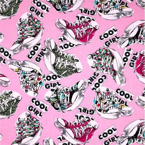 Cool Girl Bright Colorful Sneakers High-Tops on Pink Cotton Fabric