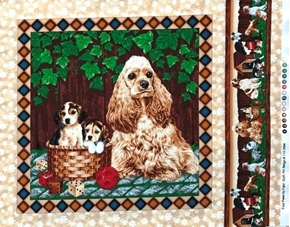 Four Paws Puppy Dog Cocker Spaniel Dice Ball Cotton Fabric Pillow Panel