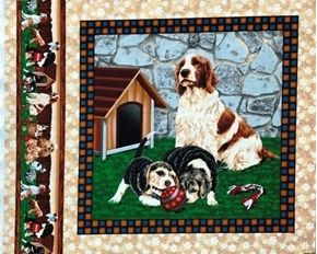 Four Paws Puppy Dog Spaniel Dog House Cotton Fabric Pillow Panel