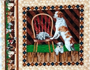 Four Paws Puppy Dog Spaniel Chair Fence Cotton Fabric Pillow Panel