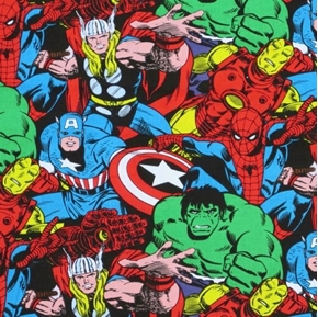 Marvel Comics Superhero Collage with Thor Cotton Fabric