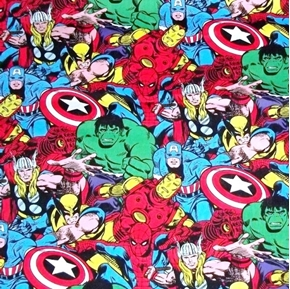 Marvel Comics Avengers Packed Wolverine Large Pattern Cotton Fabric