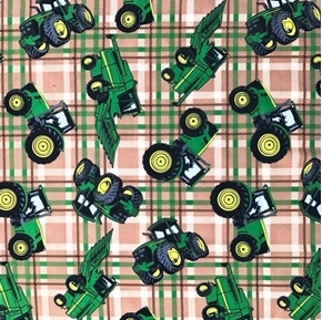 Picture of John Deere Farm Tractor Tractors Farming Brown Plaid Cotton Fabric