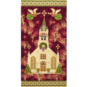 Picture of Silent Night Holiday Church 24x44 Gold Metallic Cotton Fabric Panel