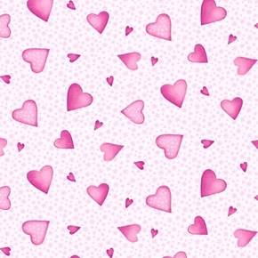 A Bundle of Pink Tiny Hearts and Stars on White Cotton Fabric