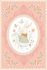 Bunny Tales Mama and Baby Bunny Easter 24x44 Cotton Fabric Panel