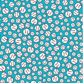 All Stars Peanuts Baseball Balls on Turquoise Cotton Fabric