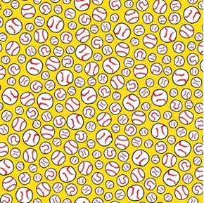 All Stars Peanuts Baseball Balls on Yellow Cotton Fabric