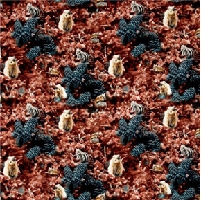 Wildflowers Chipmunks and Pinecones in the Leaves Cotton Fabric