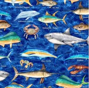 Ocean Oasis Mixed Fish Dolphin Snapper Shark Marine Navy Cotton Fabric