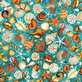 Ocean Oasis Shells Clams Starfish Conch Lagoon Teal Cotton Fabric