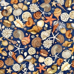 Ocean Oasis Shells Clams Starfish Conch Lagoon Navy Cotton Fabric