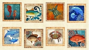 Ocean Oasis Large Fish Patch Dolphin Turtle 24x44 Cotton Fabric Panel