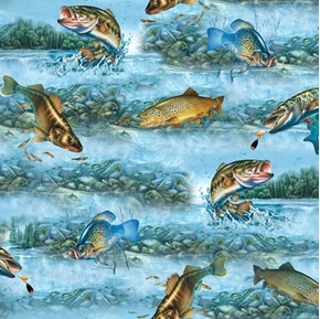 So Many Fish, So Little Time Fishing Scenic Fish Blue Cotton Fabric