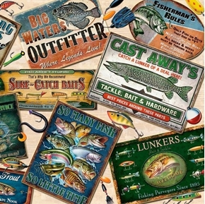 So Many Fish, So Little Time Fishing Advertisements Cotton Fabric
