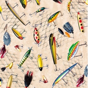 So Many Fish, So Little Time Fishing Lures on Cream Cotton Fabric