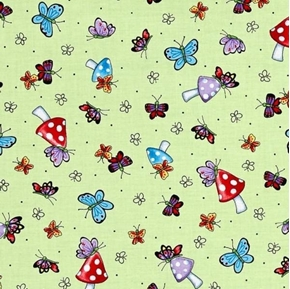 Mary Engelbreit Mary's Fairies Butterflies and Mushrooms Cotton Fabric