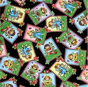 Mary Engelbreit Mary's Fairies Fairy Patch Toss on Black Cotton Fabric