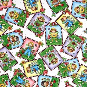 Mary Engelbreit Mary's Fairies Fairy Patch Toss on White Cotton Fabric